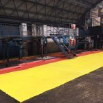Yellow and red Electroguard anti static floor paint